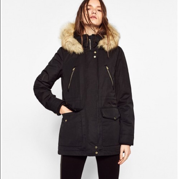 1d32f767fc Zara Black Fur Lined Parka with Detachable Hood NWT